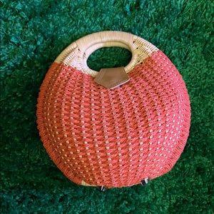 Retro Wicker Basket Purse Mini Circle Bubble Bag